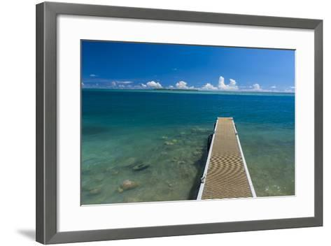Pier with Cooks Island in the Background, Guam, Us Territory, Central Pacific-Michael Runkel-Framed Art Print