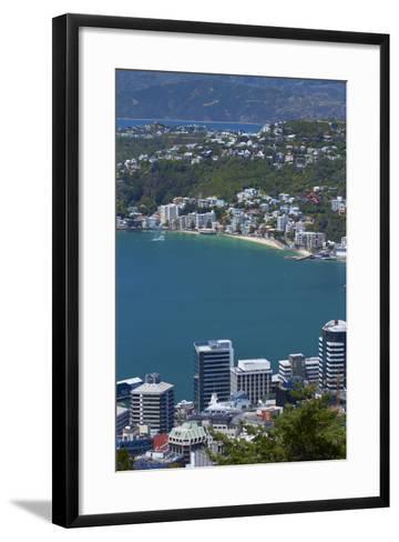 Cbd, Wellington Harbour and Oriental Bay, Wellington, North Island, New Zealand-David Wall-Framed Art Print