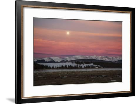 USA, Colorado. Setting Full Moon and Alpenglow Above Mosquito Range-Jaynes Gallery-Framed Art Print