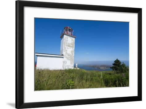 Martins, New Brunswick, White Old Traditional Historic Lighthouse Ion Water with Fields on Cliff-Bill Bachmann-Framed Art Print