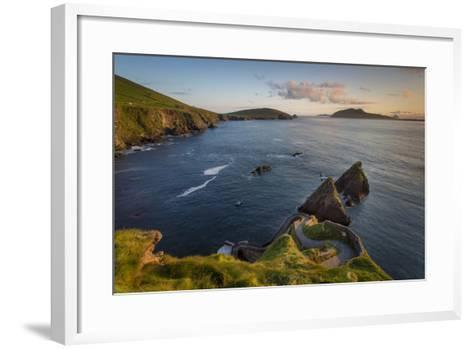 Sunset over Windy Road to Dunquin Harbor, Dunquin, County Kerry, Republic of Ireland-Brian Jannsen-Framed Art Print