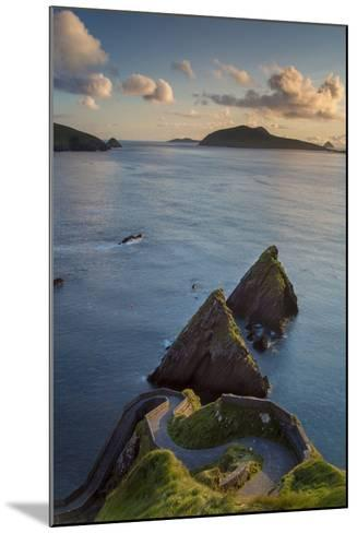 Sunset over Windy Road to Dunquin Harbor, Dunquin, County Kerry, Republic of Ireland-Brian Jannsen-Mounted Photographic Print