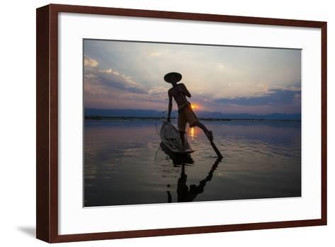 Myanmar, Inle Lake. Fisherman Rowing at Sunset-Jaynes Gallery-Framed Art Print