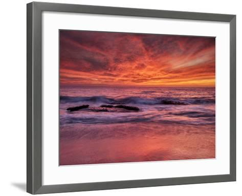 USA, California, La Jolla. Sunset at North End of Windansea Beach-Ann Collins-Framed Art Print