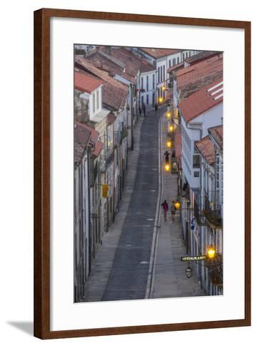 Spain, Santiago. Cobblestone Narrow Street Scene at Twilight-Emily Wilson-Framed Art Print