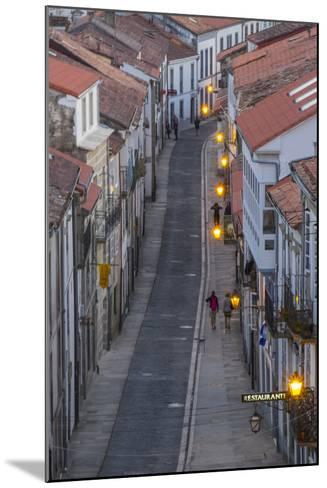 Spain, Santiago. Cobblestone Narrow Street Scene at Twilight-Emily Wilson-Mounted Photographic Print