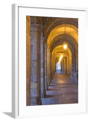 Spain, Santiago. Archways and Door Near the Main Square of Cathedral Santiago De Compostela-Emily Wilson-Framed Art Print
