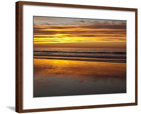 USA, California, La Jolla. Sunset Reflected on Beach at La Jolla Shores-Ann Collins-Framed Art Print
