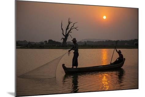 Myanmar, Mandalay, Amarapura. Fishermen on Irrawaddy River-Jaynes Gallery-Mounted Photographic Print