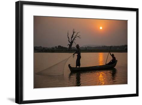 Myanmar, Mandalay, Amarapura. Fishermen on Irrawaddy River-Jaynes Gallery-Framed Art Print