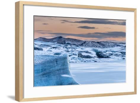 Svinafellsjoekull Glacier in Vatnajokull During Winter. Glacier Front and the Frozen Glacial Lake-Martin Zwick-Framed Art Print