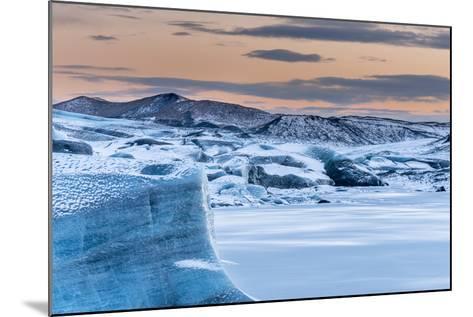 Svinafellsjoekull Glacier in Vatnajokull During Winter. Glacier Front and the Frozen Glacial Lake-Martin Zwick-Mounted Photographic Print