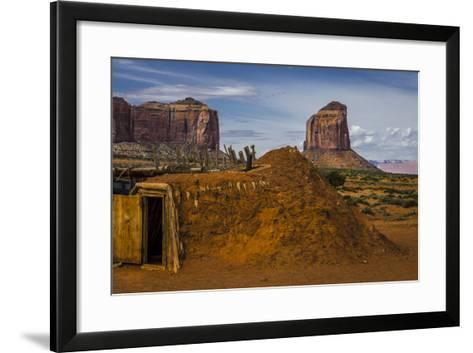 Native American Hogan's and Mitchell Butte in Monument Valley Tribal Park of the Navajo Nation, Az-Jerry Ginsberg-Framed Art Print