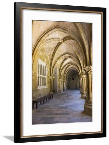 Portugal, Coimbra. Old Cathedral Cloister. Archways, Walking Paths, Courtyard-Emily Wilson-Framed Art Print