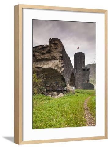 Germany, Rhineland-Pfalz, Remagen, Ruins of the Bridge at Remagen-Walter Bibikow-Framed Art Print