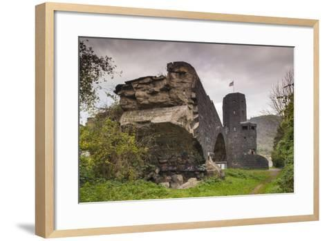 Germany, Rhineland-Pfalz, Remagen, Ruins of the Bridge at Remagen-Walter Bibikow-Framed Art Print