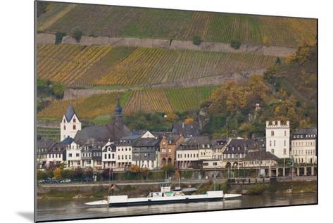 Germany, Rhineland-Pfalz, Kaub, Town and Rhine River Ferry in Autumn-Walter Bibikow-Mounted Photographic Print