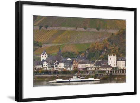 Germany, Rhineland-Pfalz, Kaub, Town and Rhine River Ferry in Autumn-Walter Bibikow-Framed Art Print