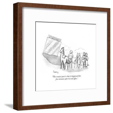 """""""The craziest part is that it happened like five minutes after he took off?"""" - Cartoon-Benjamin Schwartz-Framed Art Print"""