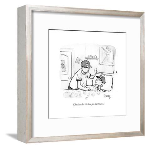"""Check under the bed for Bartmans."" - Cartoon-Benjamin Schwartz-Framed Art Print"