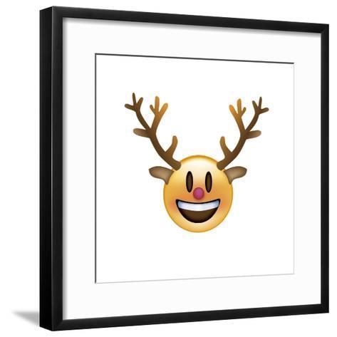 Emoji Big Smile Reindeer-Ali Lynne-Framed Art Print