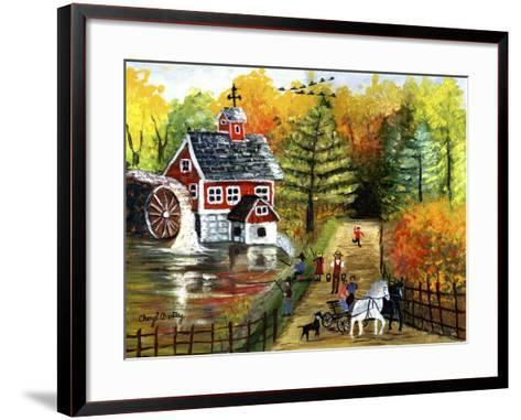 Fishing by the Old Grist Mill-Cheryl Bartley-Framed Art Print