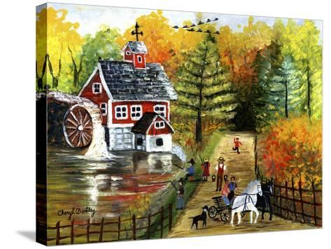 Fishing by the Old Grist Mill-Cheryl Bartley-Stretched Canvas Print