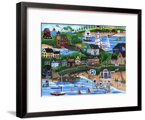 Old New England Seaside 4th of July Celebration-Cheryl Bartley-Framed Art Print