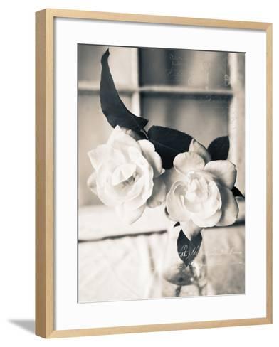 Roses in a Vase BW-Bob Rouse-Framed Art Print