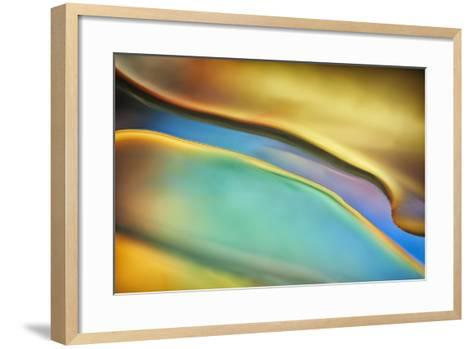 Yellow and Aqua Blue Flow-Cora Niele-Framed Art Print