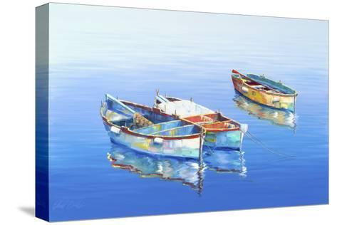 3 Boats Blue 1-Edward Park-Stretched Canvas Print