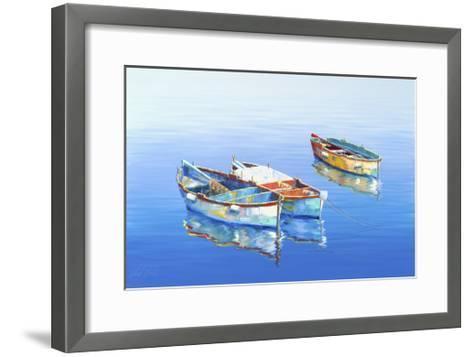 3 Boats Blue 1-Edward Park-Framed Art Print