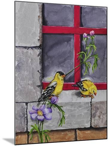 Gold Finches-Charlsie Kelly-Mounted Giclee Print