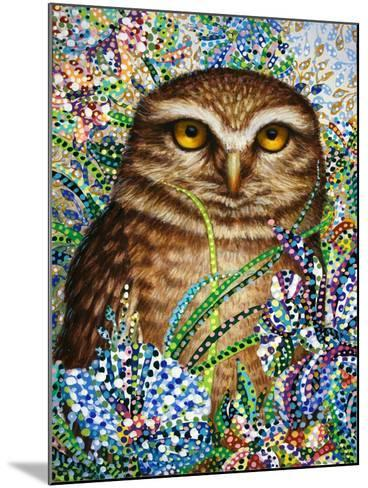 Burrowing Owl in Flowers-Erika Pochybova-Mounted Giclee Print
