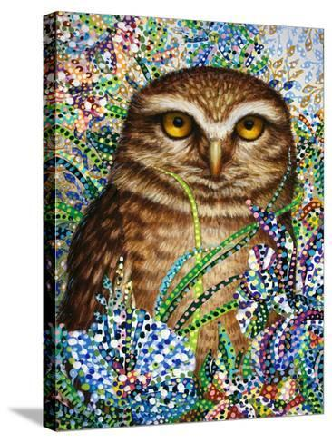 Burrowing Owl in Flowers-Erika Pochybova-Stretched Canvas Print