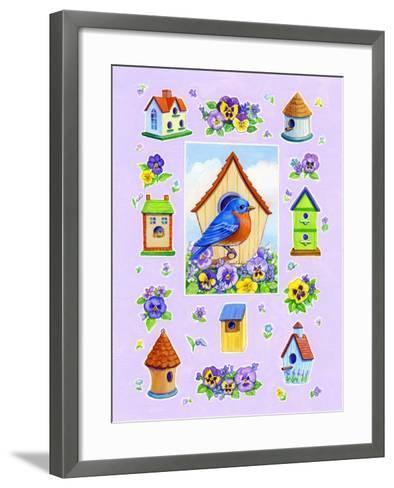 Bluebird and Pansies-Geraldine Aikman-Framed Art Print