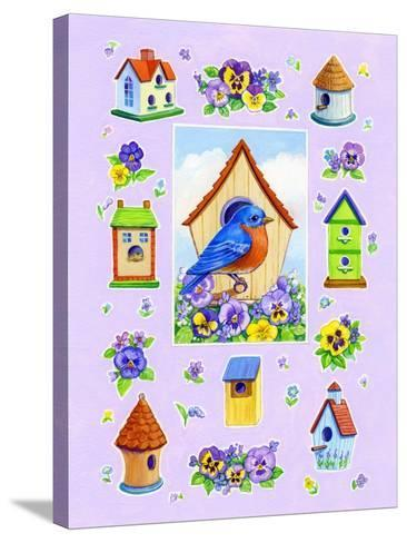 Bluebird and Pansies-Geraldine Aikman-Stretched Canvas Print