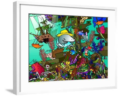 Underwater Shark-Howie Green-Framed Art Print
