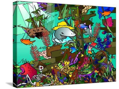 Underwater Shark-Howie Green-Stretched Canvas Print
