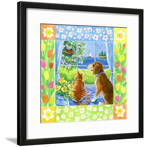 Spring Cat and Dog-Geraldine Aikman-Framed Art Print