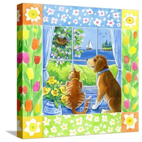 Spring Cat and Dog-Geraldine Aikman-Stretched Canvas Print