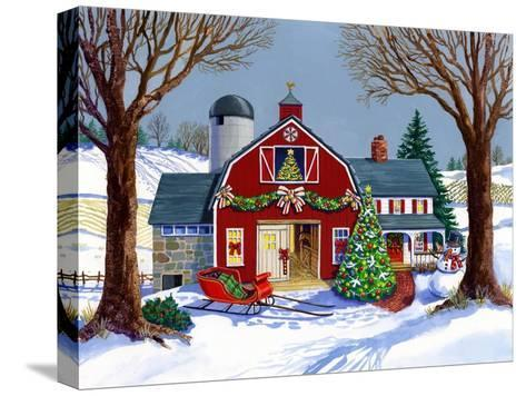 The Red Sleigh Barn-Geraldine Aikman-Stretched Canvas Print