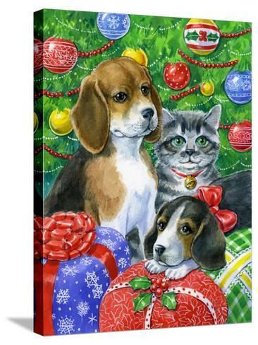 Puppies and Kitten under the Tree-Geraldine Aikman-Stretched Canvas Print