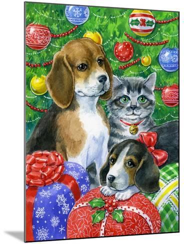 Puppies and Kitten under the Tree-Geraldine Aikman-Mounted Giclee Print