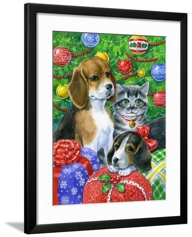 Puppies and Kitten under the Tree-Geraldine Aikman-Framed Art Print