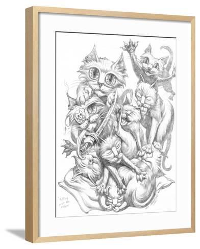Fighting over Pillow Pencil-Jeff Haynie-Framed Art Print