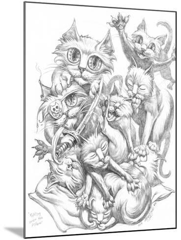 Fighting over Pillow Pencil-Jeff Haynie-Mounted Giclee Print