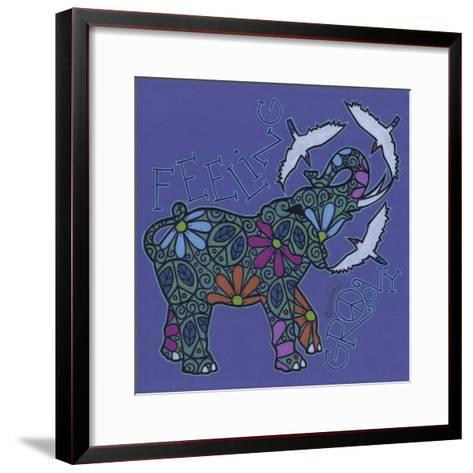 Elephant II (Feeling Groovy) with Cattle Egrets-Denny Driver-Framed Art Print