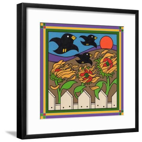 Sunflowers 3 with Kernel and Friends-Denny Driver-Framed Art Print