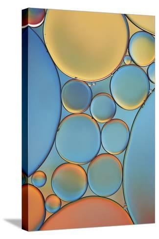 Blue and Apricot Drops-Cora Niele-Stretched Canvas Print